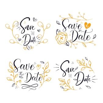 Enregistrez la date lettrage fleurs et coeurs