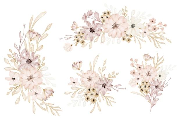 Enregistrez la date et le modèle de conception douce de fleur d'invitation de mariage