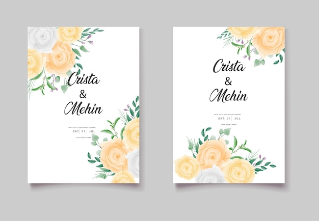 Enregistrez le jeu de cartes d'invitation floral aquarelle date