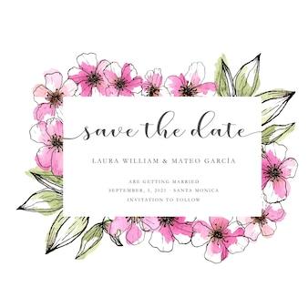 Enregistrez le modèle de date avec des fleurs roses dessinés à la main