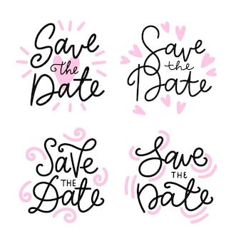 Enregistrez le lettrage de date avec des coeurs roses