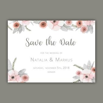 Enregistrez le modèle de carte de date avec des fleurs en pastel