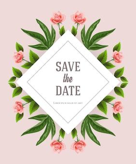 Enregistrez le modèle de date avec des éléments décoratifs floraux sur fond rose.