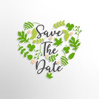 Enregistrez le texte de la date avec un arrière-plan de feuilles vertes
