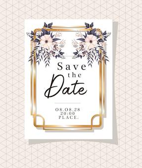 Enregistrez le texte de la date dans un cadre doré avec des fleurs et des feuilles