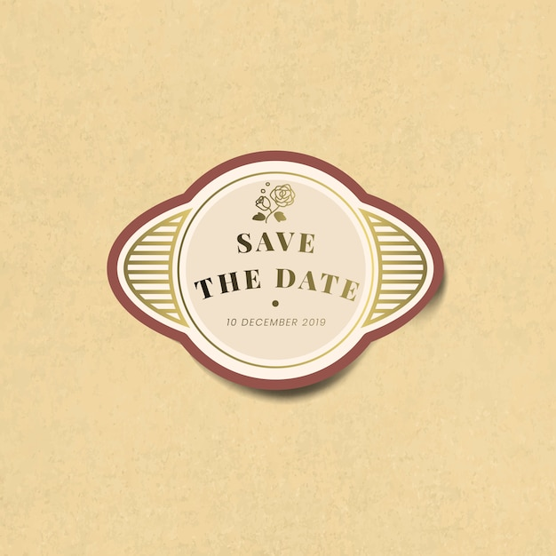 Enregistrez le vecteur d'étiquette autocollant vintage invitation mariage