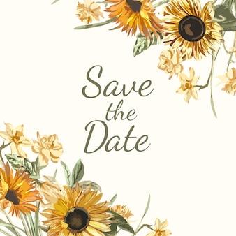 Enregistrez le vecteur de maquette d'invitation de date