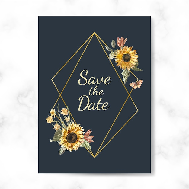 Enregistrez le vecteur de maquette invitation de mariage date