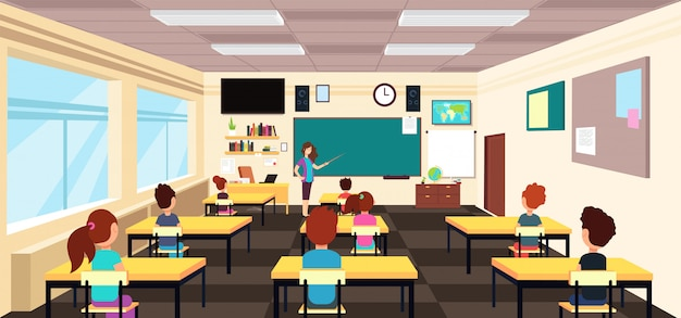 Enseignant au tableau et enfants aux pupitres d'école en classe. illustration vectorielle de dessin animé