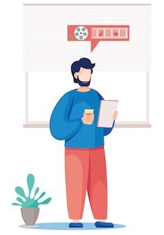 Enseignant au tableau noir. jeune enseignant masculin se tient avec une tasse de café et des feuilles de papier dans ses mains.