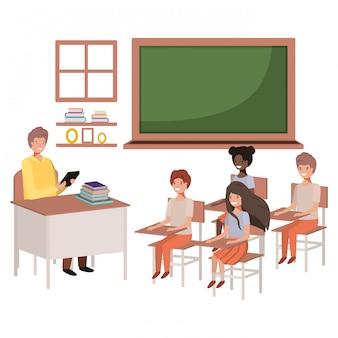 Enseignant en classe avec des étudiants
