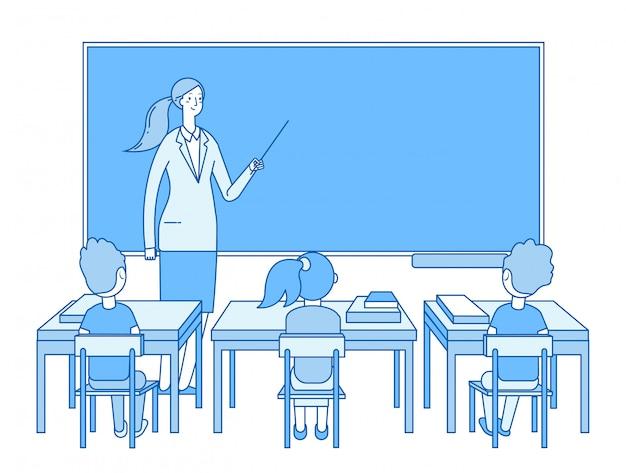 Enseignant en classe. jeune femme à l'enseignement du tableau noir, les enfants étudiants étudient en classe. concept d'éducation élémentaire