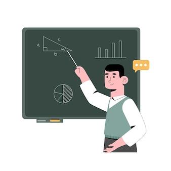 Enseignant en classe pointant vers le tableau