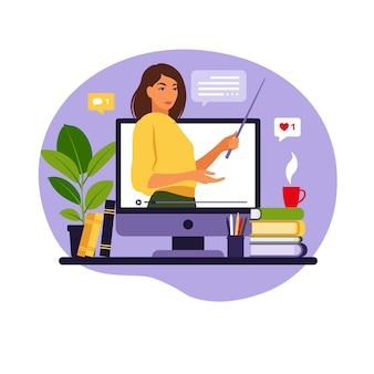 Enseignant de concept d'apprentissage en ligne