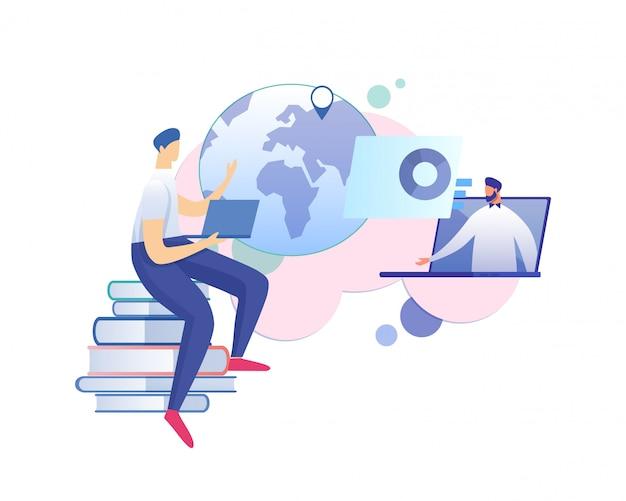 Enseignant donne une conférence ou un séminaire en ligne sur internet