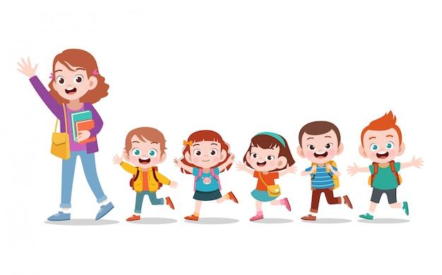 Enseignant avec l'école des enfants