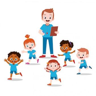 Enseignant et élève en classe