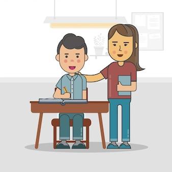 Un enseignant avec un élève à l'intérieur de la classe