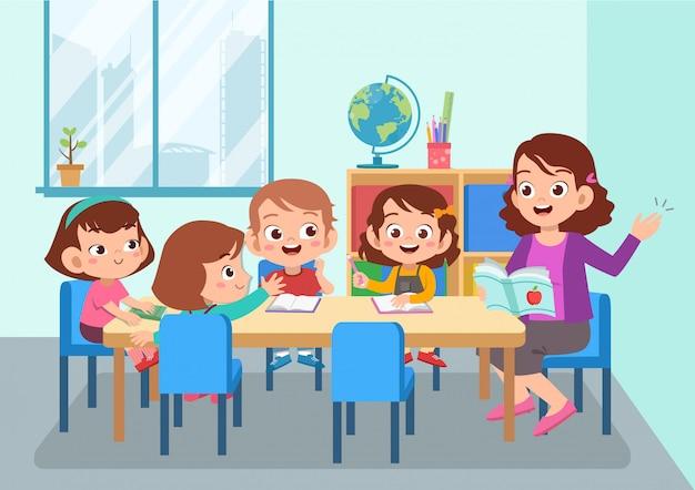 Enseignant avec élève isolé