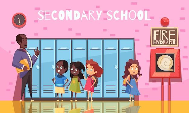 Enseignant et élèves du secondaire au cours de la conversation sur fond de mur rose avec dessin animé casiers