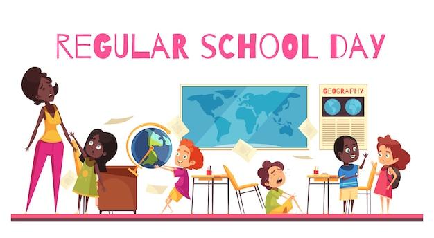 Enseignant et élèves pendant la leçon de géographie en dessin animé de salle de classe