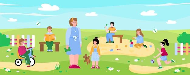 Enseignant et enfants jouant dans l'illustration vectorielle de dessin animé plat maternelle