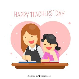 Un enseignant avec un étudiant, une journée d'enseignants