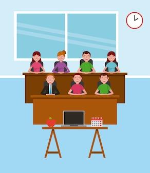 Enseignant et étudiants bureau ordinateur portable calendrier apprentissage