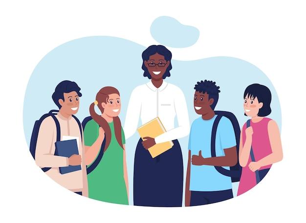 Enseignant avec des étudiants illustration vectorielle 2d isolée. personnages plats d'écoliers heureux sur fond de dessin animé. enfants après le cours. tuteur avec sa scène colorée d'étudiants