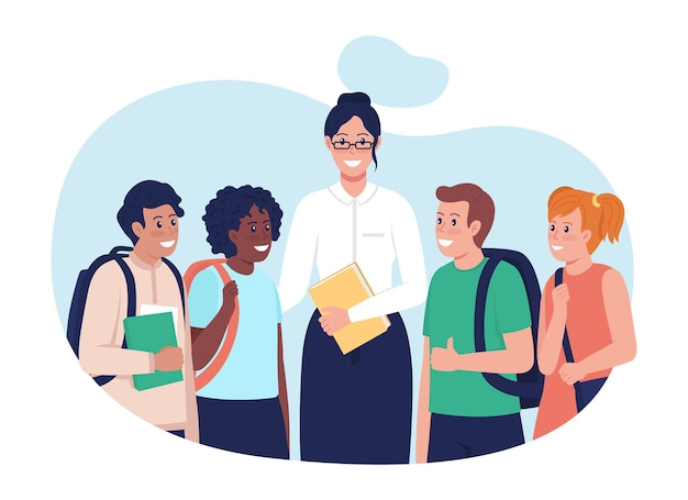 Enseignant avec des étudiants illustration vectorielle 2d isolée. personnages plats de personnes multiraciales heureuses sur fond de dessin animé. enfants après le cours. tuteur avec sa scène colorée d'étudiants