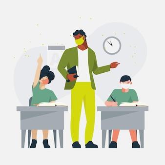 Enseignant et étudiants portant un masque facial en classe