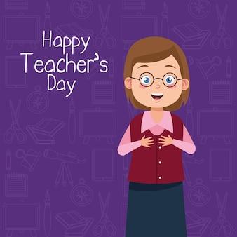 Enseignant femme portant des lunettes avec inscription journée des enseignants fond violet