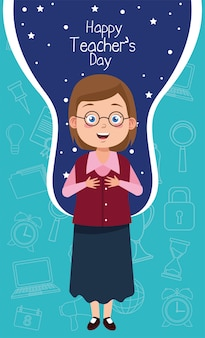 Enseignant femme portant des lunettes avec lettrage de jour des enseignants