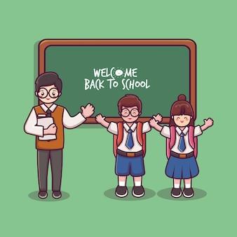 Enseignant garçon et fille en uniforme scolaire bienvenue au tableau noir de l'école