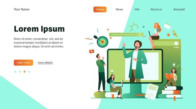 Enseignant lecture conférence en ligne isolé illustration vectorielle plane. les étudiants apprennent la leçon via un ordinateur portable et un webinaire d'écoute. concept d'éducation et de technologie informatique
