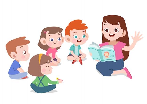 Enseignant lire l'histoire à l'illustration vectorielle élève