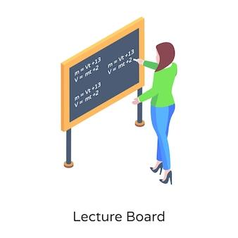 Un enseignant livrant une icône isométrique de cours de mathématiques