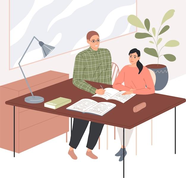 Un enseignant masculin prend des cours individuellement avec une fille.