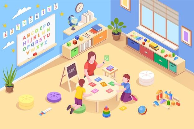 Enseignant à la maternelle avec des enfants apprenant l'alphabet les enfants étudient les lettres et les mots pour la lecture