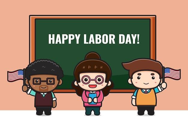 Un enseignant mignon célèbre l'illustration de dessin animé de la fête du travail. concevoir un style cartoon plat isolé