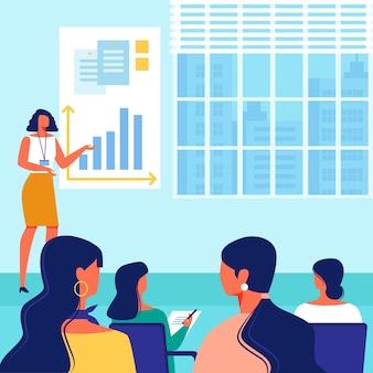 Enseignant montre la main sur le calendrier. parlez au public.