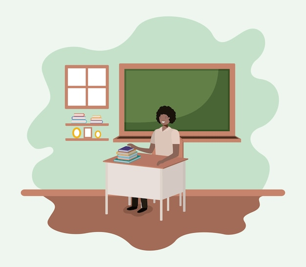 Enseignant noir dans la conception d'illustration vectorielle en classe