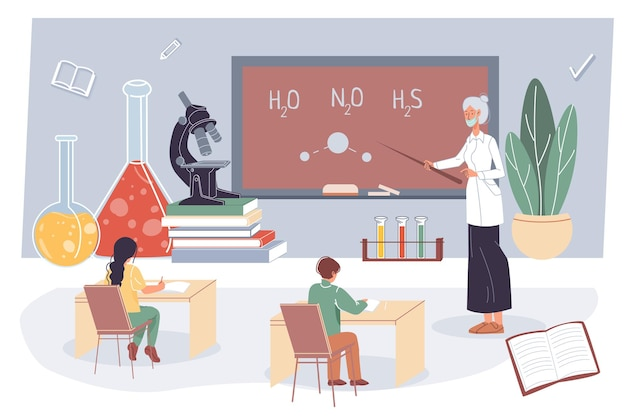 Enseignant plat de dessin animé et élèves, personnages étudiants étudient la chimie en classe