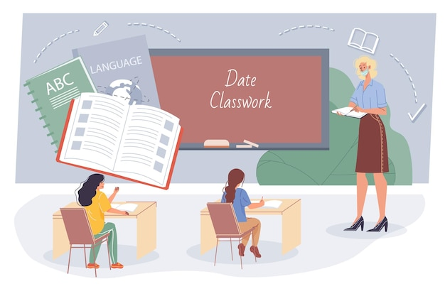 Enseignant plat de dessin animé et élèves, personnages étudiants étudient la langue en classe