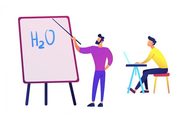 Enseignant pointant à bord avec formule eau et étudiant avec illustration vectorielle portable.