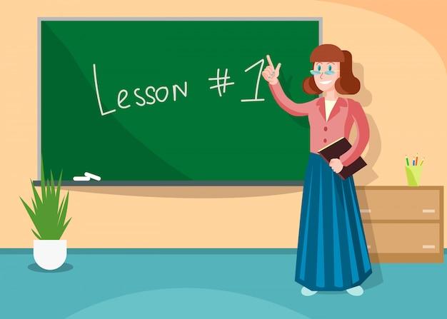 Enseignant pointant sur le tableau expliquant les informations.