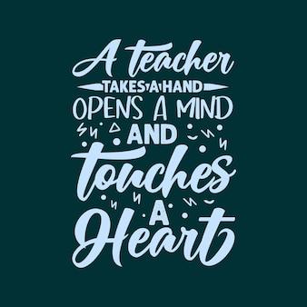 Un enseignant prend une main ouvre un esprit et touche un t-shirt et un mechandis de conception de lettrage de coeur