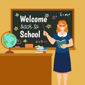 L'enseignant souhaite la bienvenue à l'école