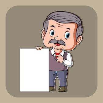 Enseignant tenant du papier blanc blanc