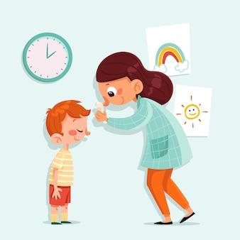 Enseignant vérifiant la température des enfants